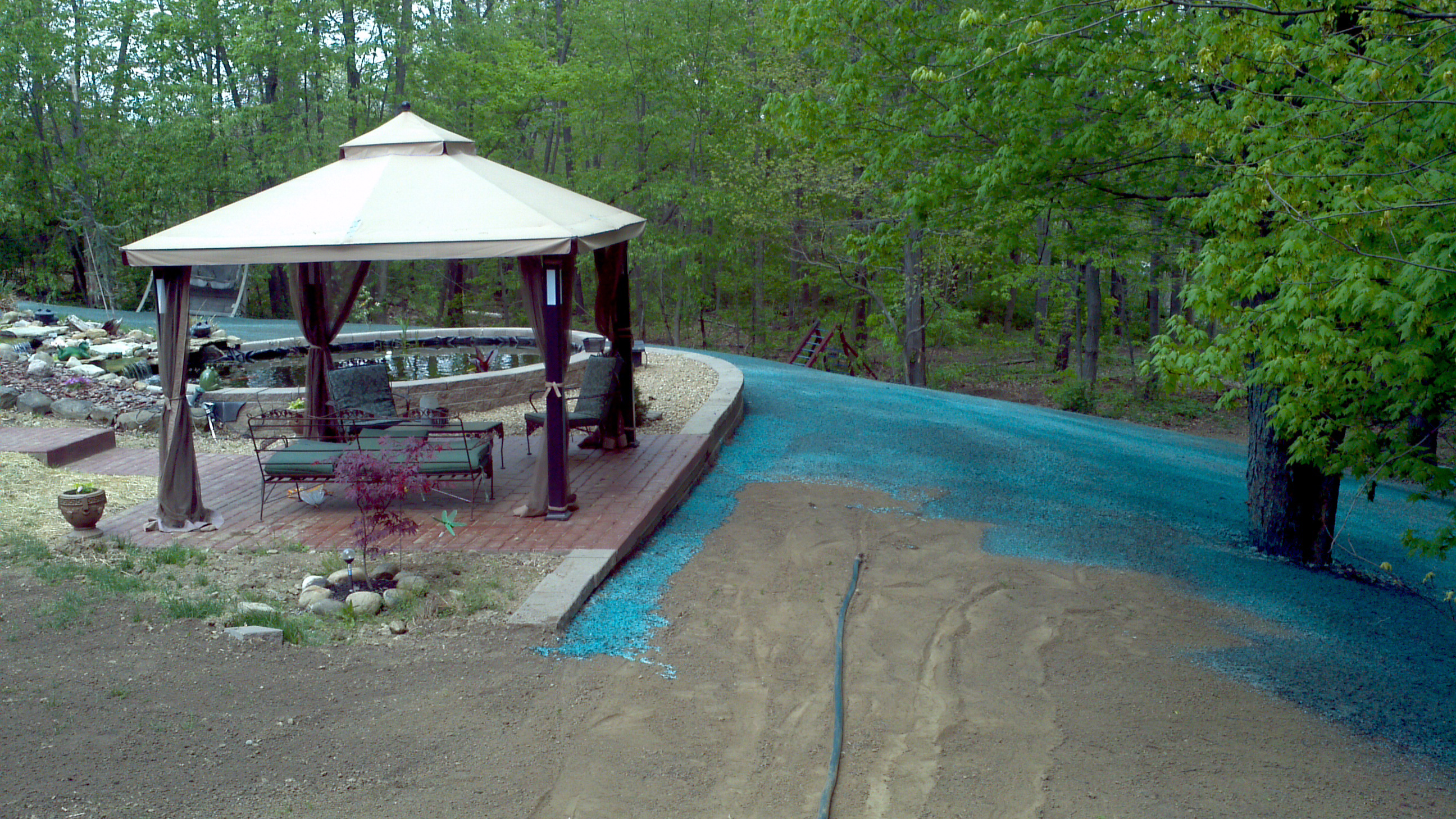 Here is a back lawn being hydroseeded