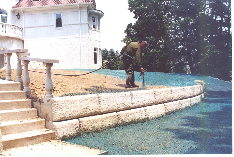 Back yard being hydro seeded