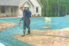 Front lawn being hydroseeded