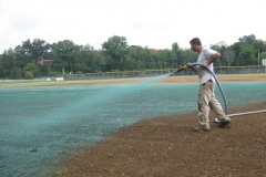 This is a football field being hydro seeded